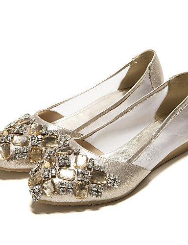 PDX mujeres tarde Oro talón las soporte eu38 oficina uk5 cn38 Plata punta redonda 5 de golden cristal carrera y us7 vestido 5 y de Fiesta zapatos Flats casual de rtcTqw1r