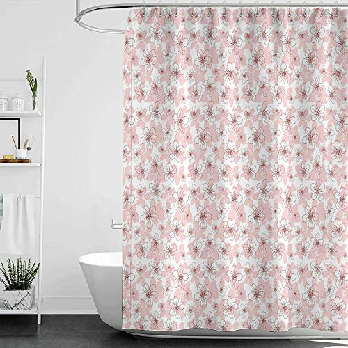 - Shower Curtains Hooks red Cherry Blossom,Hand Drawn Style Little Flowers Botanical Doodle Sketch Organic Garden,Rose Ruby White W55 x L84,Shower Curtain for Bathroom