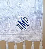 Monogram Baby Quilt 36'' x 46'' White Blanket Cotton