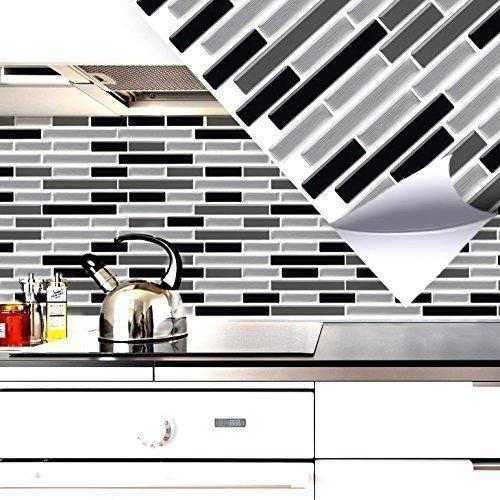 4 Set 27, 9 x 23, 4 cm Grandora Mosaïque 3D autocollant pour carrelage w5414 auto-adhésif cuisine salle de bain Stickers muraux Tuiles décoratives Film Noir Gris Argent
