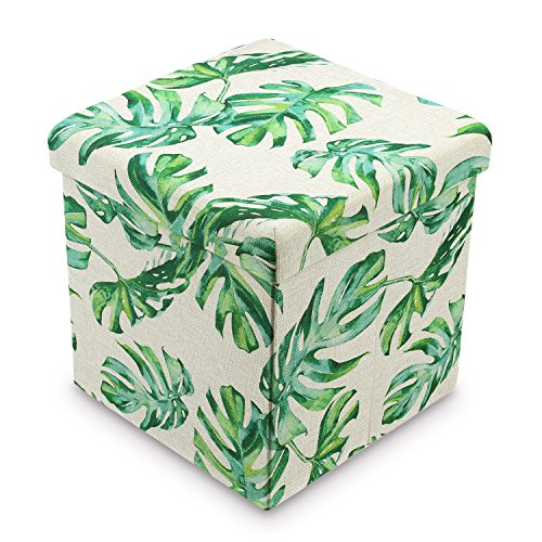 Ikee Design Tropical Leaves Pattern Folding Storage Ottoman - Split Leaf Philodendron Polyester Collapsible Cube Foot Rest Stool Coffee Table ()