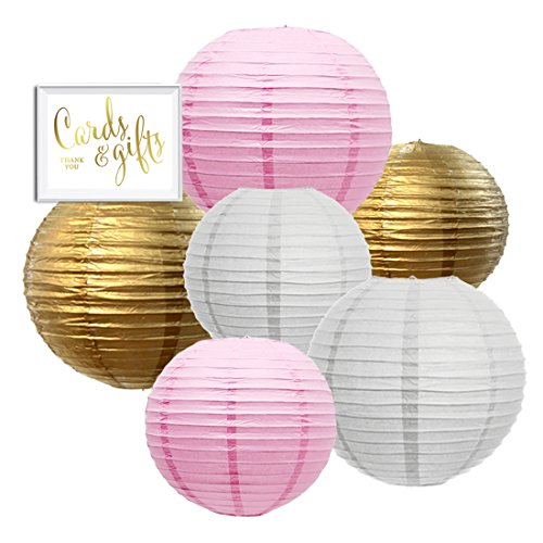 (Andaz Press Hanging Paper Lantern Party Decor Trio Kit with Gold Party Sign, Gold, Pink, White, 6-Pack, For Girl 1st Birthday Baby Shower Baptism Communion Christening)