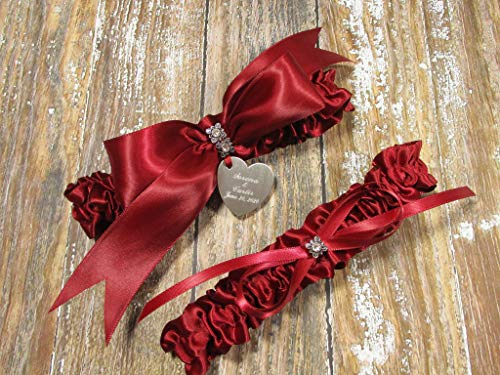 Red Wedding Garter Set with Crystals and Personalized Engraving