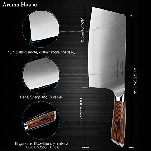 Aroma House Chinese Chef's Knife-7 inch Vegetable and Meat Cleaver Knife, German Stainless Steel Kitchen Knife with Full-tang Pakkawood Handle for Home, Kitchen & Restaurant, Gift Box by Aroma House (Image #1)