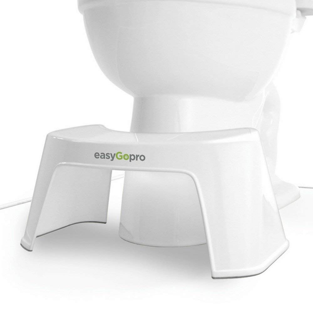 EasyGopro Go Time Just Got Easier 7.5 Bathroom Squatty Toilet Stool Recommended for All Ages | Compact Size Fits All Toilets | White by easyGopro go time just got easier