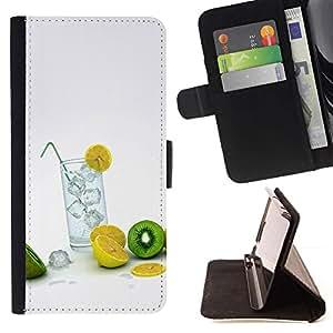 For Sony Xperia Z5 Compact Z5 Mini (Not for Normal Z5) Case , Macro de la fruta del limón del kiwi- la tarjeta de Crédito Slots PU Funda de cuero Monedero caso cubierta de piel