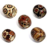 Quantity 100 - Wooden Mixed Design Painted Drum Beads - 17mm x 16mm