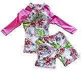 Taiycyxgan Baby Toddler Kid Girls Flowers Long Sleeve Rash Guard UV Sun Protection Swimsuit Rose 2XL