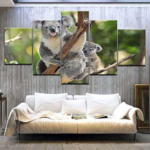WPFZH Five Paintings Bear Clipart Rainforest Animal HD Print Modern Art Painting Wall Posters Canvas for Home Living Room decoration-40x60 40x80 40x100cm - Bears Clipart