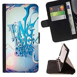 GIFT CHOICE / Billetera de cuero Estuche protector Cáscara Funda Caja de la carpeta Cubierta Caso / Wallet Case for HTC DESIRE 816 // Long Time Ago Far Away Word Art //