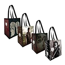 The Coop The Walking Dead 4 Pack Reusable Grocery Tote Bags - Not Machine Specific
