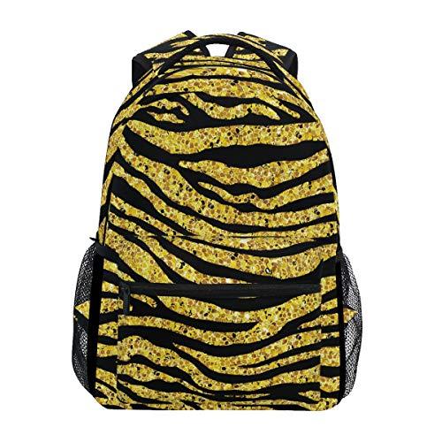 - School Backpacks Golden Glitter Tiger Or Zebra Student Backpack Big For Girls Kids Elementary School Shoulder Bag Bookbag