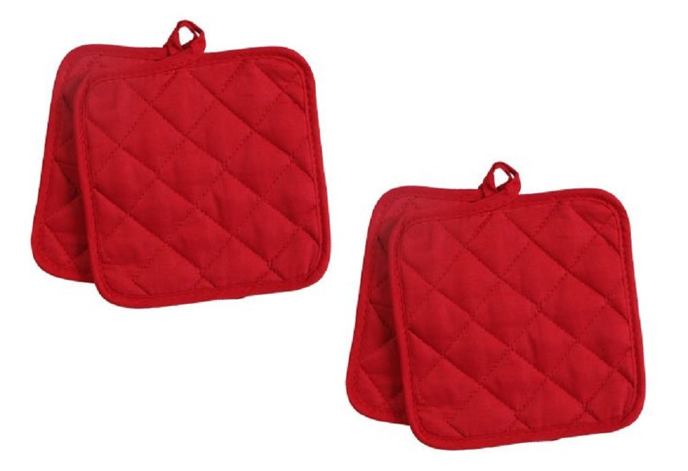 Pack of Four (4) Red Home Store Cotton Pot Holders (2 Sets of 2) (2, Red) Greenbrier