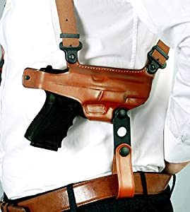 """Premium Leather Horizontal Shoulder Holster With Single Mag Case Fits, Springfield XD9 XD40 XDM9 XDS 3""""BBL, 4""""BBL, 4.5""""BBL, 5""""BBL, 5.25""""BBL, Right Hand Draw, Brown Color (Springfield XDS 3.3""""BBL)"""