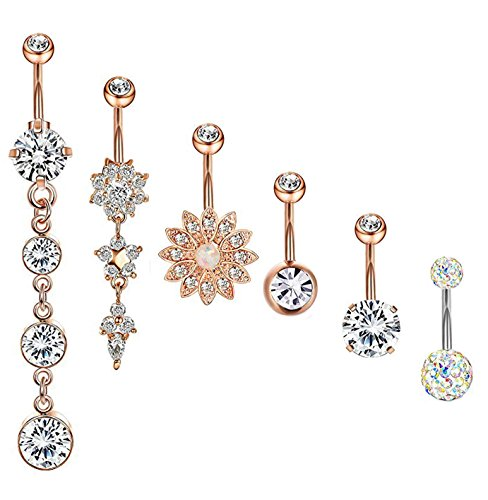Gold Heart Dangle Belly (Masedy 6Pcs 14G 316L Stainless Steel Dangle Belly Button Rings for Women Girls Clear CZ Flower Barbell Body Piercing Jewelry ROSE-GOLD)