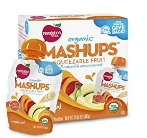 Revolution Foods Organic Mashups Squeezable Fruit, Tropical, 4 - 3.17 oz Packets, (Pack of 6)