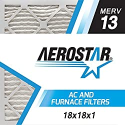 Aerostar Pleated Air Filter, Merv 13, 18x18x1, Pack Of 6, Made In The Usa