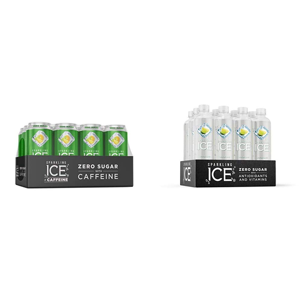 Sparkling Ice +Caffeine Triple Citrus Sparkling Water, 16 fl oz Cans (Pack of 12) & Lemon Lime Sparkling Water, with antioxidants and vitamins, Zero Sugar, 17 FL OZ Bottles (Pack of 12)