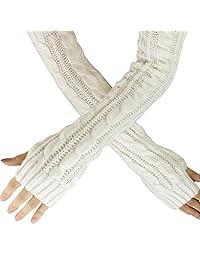 Kingfansion Womens Fingerless Knitted Long Gloves Warm Full Arm Knit Mittens (White)