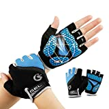 TimeBus 6mm GEL Palm Shock-Absorbing Cycling Gloves, Anti-Slip Mountain Bike Gloves, Protective Road Racing Bicycle Gloves, Breathable Sport Half Finger Gloves for Men & Women (Blue, XL)