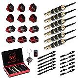 Whimlets Professional Steel Tip Darts Set with 12 Dart Flights and 12 Aluminum Shafts, 6 x 20 Grams Brass Barrels, Dart Tool and Sharpener, Gift Case