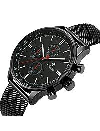WWOOR Reloj de Pulsera para Hombre Esfera De Cuarzo Negro Acero Inoxidable Correa Relojes deportivos para hombres Reloj militar