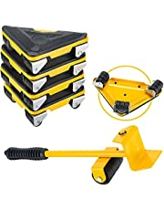 Moonmen Heavy Duty Furniture Lifter with Triangle Moving Sliders Mover Tool Set Easy Moving Appliance, Max Load for 300kg (Yellow)