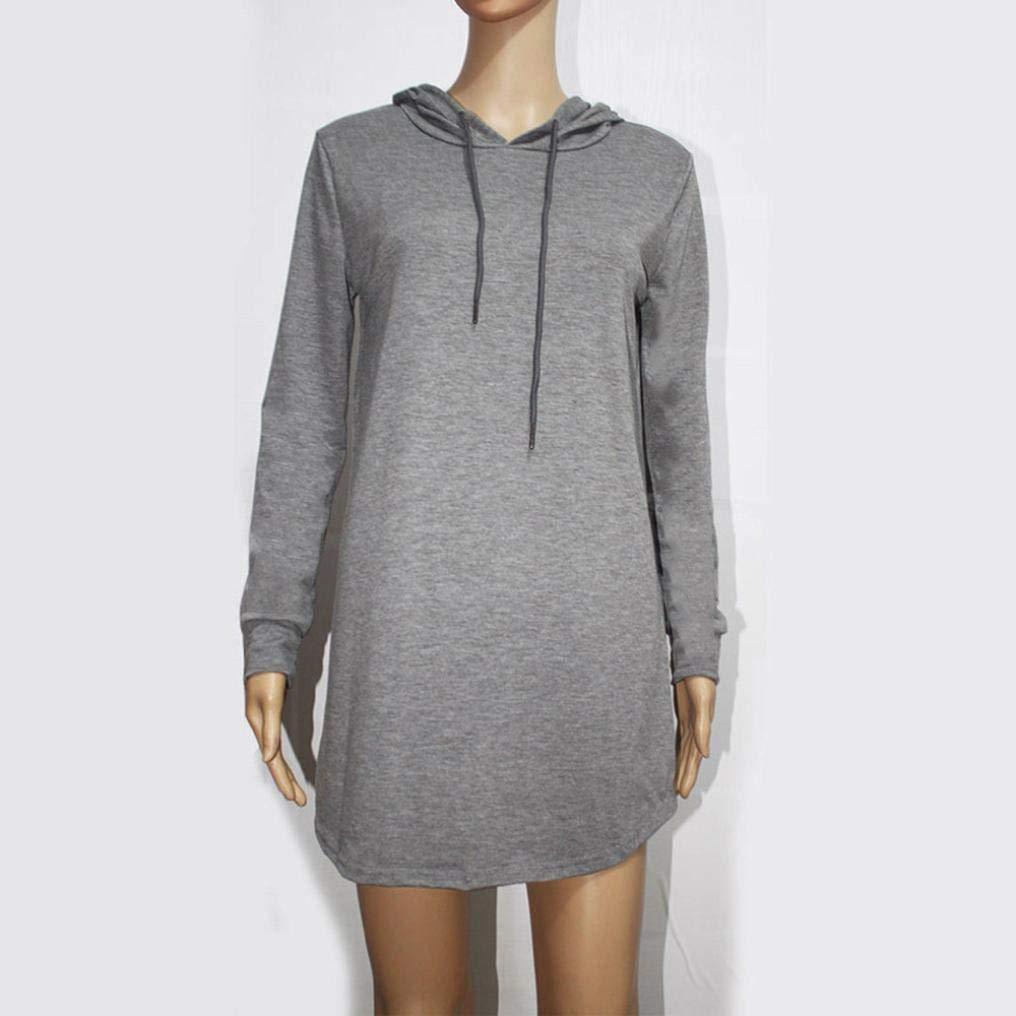 3f0b448e8623 Damen Elegant Kleider Hoodie Kleid Langarmkleid Hülsen Strandkleid ...