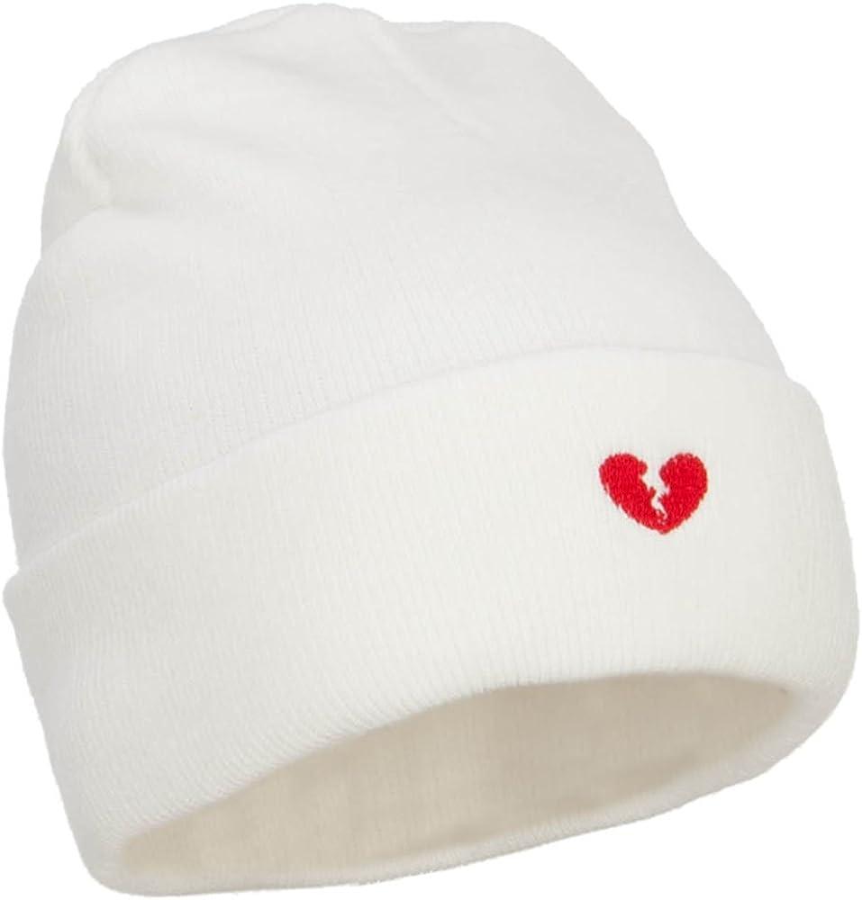 e4Hats.com Mini Broken Heart Embroidered Long Beanie