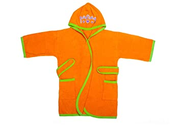 4624c25bf6 Amazon.com   Ama de Casa Cotton Hooded Terry Bathrobe for 3-6 Year Old  Toddlers Kids - Princess Mia (Orange)   Baby