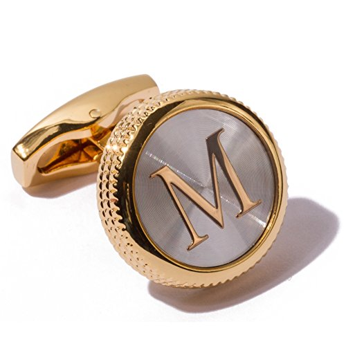 Collection Platinum Mens (HJ Men's 2PCS Fashion Dazzle Tuxedo Shirts Platinum Plated Cufflinks Initial Letter 2 Color A-Z (Gold M))