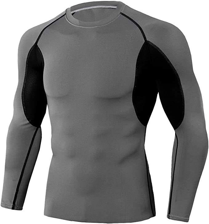 Men/'s Long Sleeve Compression T-Shirts Athletic Top for Runing Yoga Exercise
