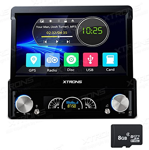 XTRONS Single 1 Din 7 Inch Digital Motorized Detachable HD Touch Screen Car Stereo In Dash DVD Player GPS Radio Map Card Included (Single Din Motorized Touch Screen)