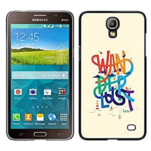 Samsung Galaxy Mega 2 / SM-G750F / G7508 Único Patrón Plástico Duro Fundas Cover Cubre Hard Case Cover - Wanderlust Text Beige Rainbow Message