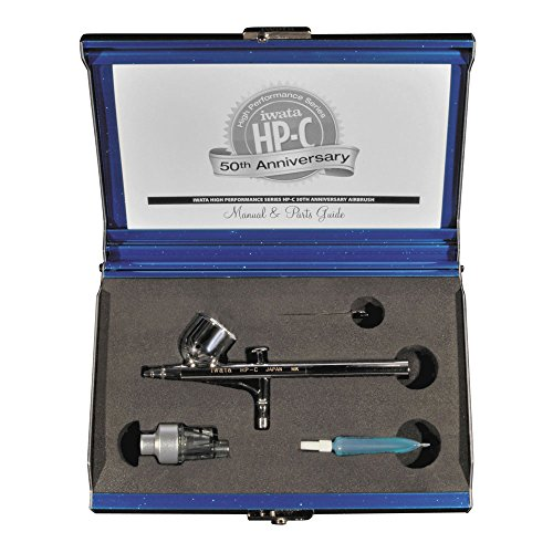 Iwata High Performance HP-C 50th Anniversary Airbrush, Gravity-Feed, 0.3mm Nozzle, 1/3 oz Cup, Blue Metal Case, Limited Edition, Uniquely Numbered