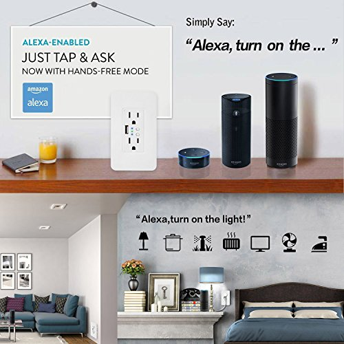 Smart WiFi High Speed USB Charger/USB Charger Wall Outlet (2.0A-5VDC) Dual Outlet Receptacle - Independently Remote Control Duplex Outlet 15A, Wireless Voice Control and Timer Switch with Scheduling by Alysontech (Image #7)