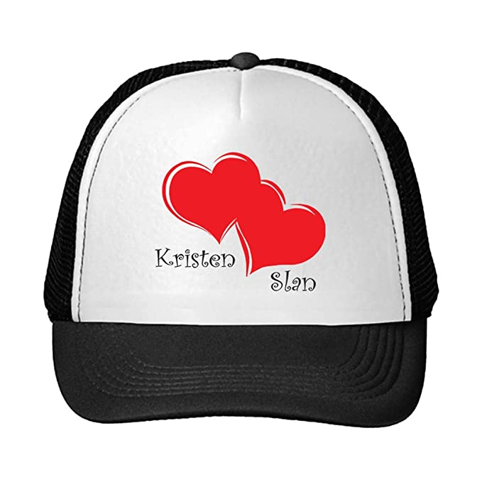Personalized Custom Text Two Red Hearts Unisex Adult Snaps Polyester Trucker  Hat Adjustable Cap - Black 9b0f47c799b