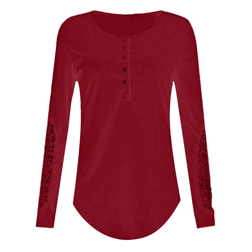Women Henley Shirt Long Sleeve Casual Ribbed Scoop Neck Button Up Pullover Tops Blouse Tunic Shirts (XXXXL, Red)