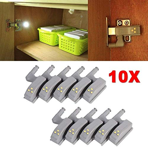 10 X LED Sensor Light For Home Kitchen Cabinet Cupboard Closet Hinge White Light