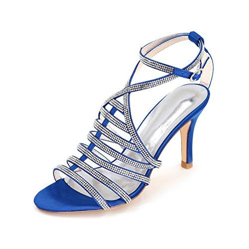 Blue Stiletto Crossover Strappy Sandali Scarpe Tacco Prom Alto Womens ager Flower Dimensioni Ladies 9920 11 Toe Moojm Wedding Partito Open wHSCqx