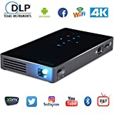 COOQI TV Box Projector, Smart Mini Portable DLP Android Projector Multimedia Home Theater Video HD Projector Suppport 1080P/Wifi/HDMI/Bluetooth/USB/TF card/Audio Cable, HDMI Output be used as TV Box