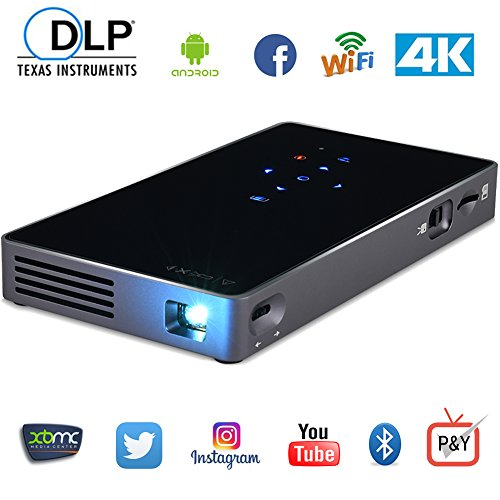 LoongSon TV Box Projector, Smartphone Mini Portable DLP Android Projector Multimedia Home Theater Video HD Projector Suppport 1080P/Wifi/HDMI/Bluetooth/USB/TF Card/Audio Cable from LoongSon