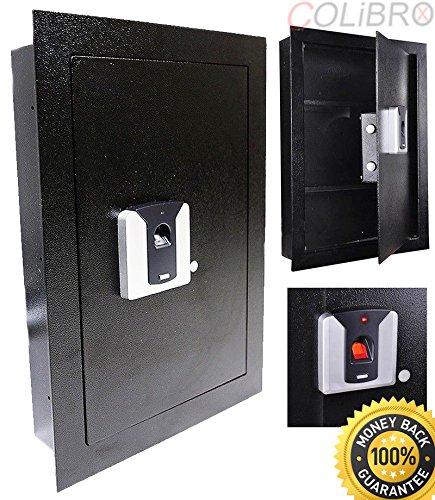 COLIBROX--Black Fingerprint Wall Hidden Safe Biometric Lock Security Box Cash Jewelry Gun. recessed wall safe fireproof. recessed wall gun safe. best wall safes fot jewelry gun.wall safe amazon. by COLIBROX