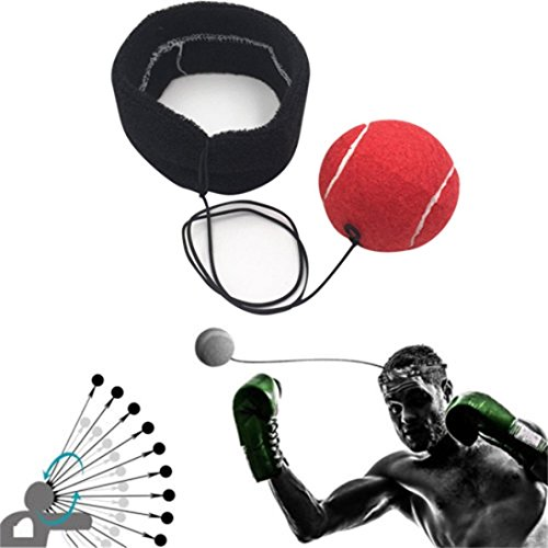 (Fight Ball With Head Band For Reflex Speed Training Boxing Boxing Punch Exercise (Red A))