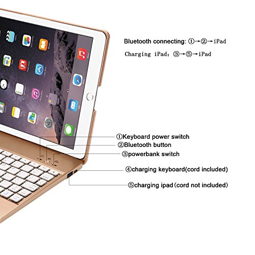YOUNGFUN iPad 2,3,4 Keyboard Case,Premium Portable Durable ABS Material Wireless Bluetooth Keyboard Case Cover with Built-in Rechargeable 2800mAh Powerbank for Apple iPad 2,3,4 - Gold by YOUNGFUN (Image #6)