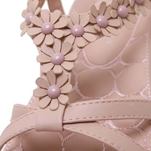 Flowered Summer Women With Low Strap Post Pink Flip Flat Bohemian Rhinestone BELLOO Heel Ankle Flops Sandals Shoes n1w6Tqx
