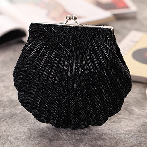Colore Messenger Borsa da Bag Bag borsa Bianco Clutch Beaded sera Shell quadrata Ladies Piccola Chain KERVINJESSIE Nero Poliestere qFXUZ7xw