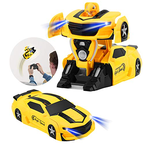 VLSEEK Remote Control Transform Car, Newest Wall Climbing Transforming Vehicle with One-Button Deformation, Three Modes Rechargeable 360°Rotating Stunt Racing, LED Head Gravity-Defying, Gift for Kid