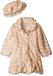 Widgeon Little Girls\' Toddler Faux Fur Flounce Skirt Bottom Coat and Hat, Cloud Khaki, 2T