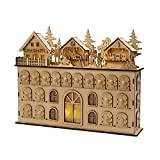"16.5"" Brown Alpine Chic LED Advent Calendar Christmas Tabletop Decoration"